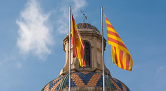 Roofs of Barcelona (Sorin Popovich) Tags: barcelona detail architecture tile spain europe day flag nopeople catalonia roofs dome catalunya colourful roofscape rooftile colorimage medievalarchitecture buildingfeature buildingexterior palaudelageneralitatdecatalunya