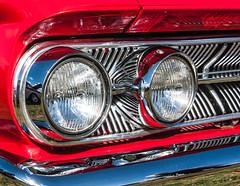 Mercury Monterey detail - LOTS of chrome... (Jez B) Tags: auto show red classic car vintage monterey day display mercury muscle wheels historic grill arena bumper fender chrome american motor headlight headlamp custom aldershot rushmoor