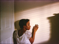 Startled (Alexandria Daniels) Tags: portrait film girl female analog self 35mm canon photography rebel lights 2000 kodak ishootfilm 400 cinematic portra