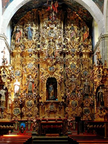 Retablo del Altar Mayor, Templo del Exconvento Dominico de Santiago y San Felipe, Atzcapotzalco, Cdad. de México, CDMX.