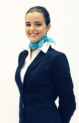 36 (SuckTheButton) Tags: whiteshirt blouse stewardess uniform azafata uniforme camisablanca scarf