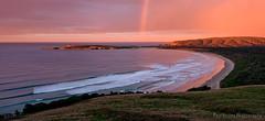 Tautuku Rainbow Sunrise (Panorama Paul) Tags: newzealand panorama sunrise rainbow catlins nikkorlenses nikfilters tautukubay nikond800 wwwpaulbruinscoza paulbruinsphotography tautukupeninsula
