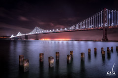 Bay Bridge, San Francisco (anoopbrar) Tags: sanfrancisco california city longexposure bridge usa art nature night america reflections landscape bay san francisco long exposure unitedstates artistic outdoor dusk cities sanjose citylights baybridge sanfran foreground landscapephotography cali49a