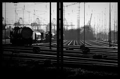 Schienen / Tracks (Andreas Meese) Tags: railroad sun wire nikon sonnenuntergang sundown crane tag hamburg tracks railway pylon cranes wires mast hafen bahn sonne kran grasbrook kleiner kabel catenary schienen wilhelmsburg oberleitungen bahnanlage d5100