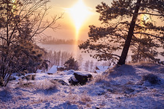 Sunset (ShinzonTme) Tags: blue winter sunset snow cold finland landscape frost talvi tampere