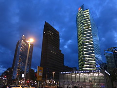Potsdamer Platz at dusk (dungodung) Tags: building berlin architecture night buildings germany square deutschland twilight arch nightshot dusk platz potsdamerplatz glassbuilding potsdamsquare