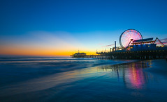 Santa Monica Pier Sunset (Alex Zhu | Photography) Tags: ocean california santa city travel sunset sea sky color tourism beach colors beautiful wheel architecture night landscape lights evening coast amusement pier los colorful pattern ride pacific angeles dusk background scenic landmark ferris monica rollercoaster