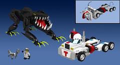 Titan Truck vs Terror Toad (Oky - Space Ranger) Tags: monster digital robot force power lego pacific designer go contest super transformers vehicle voltron titan rim rangers mecha kaiju mech rift rifter