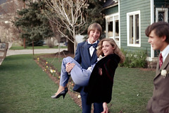 5c-619 (ndpa / s. lundeen, archivist) Tags: boy people color film jeff boys girl 35mm 1982 colorado couple lift nick tie bowtie suit heels date brunette aspen youngcouple 1980s youngwoman westend youngman carry quentin thalia carrying 5c youngpeople lifting formalattire dewolf youngmen highschooldance beforethedance nickdewolf photographbynickdewolf watchorn aspencountryday aspencountrydayschool dewolfhome reel5c jeffwatchorn