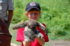 A young guest, Jacob, holding a baby sloth