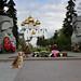 Laika in front of WW II monument in Yaroslavl, Russia