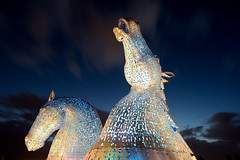 The Kelpies in the blue hour, Falkirk (iancowe) Tags: blue horses horse statue night evening scotland canal scottish illuminated hour floodlit clydesdale falkirk gloaming kelpie kelpies thekelpies