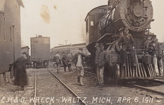 """RR WALTZ MI Steam Engine 393 TRAIN WRECK 4-5-1911 Passengers Cars off Track behind at the PMRR Railroad DEPOT Pere Marquette Railroad Depot & Freight Yard near New Boston & Carleton LANG PHOTO- (UpNorth Memories - Donald (Don) Harrison) Tags: travel usa heritage history tourism st vintage antique michigan postcard memories restaurants hotels trailer roadside upnorth steamship cafes excursion attractions motels mackinac cottages cabins campgrounds city"""" bridge"""" island"""" """"car upnorthmemories rppc wonders"""" """"big """"railroad """"michigan memories"""" mac"""" """"state parks"""" entertainment"""" """"natural harrison"""" """"roadside ferry"""" """"travel """"don """"tourist """"mackinaw puremichigan stops"""" """"upnorth straits"""" ignace"""""""
