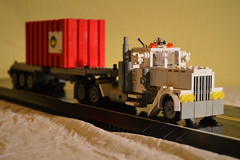 22 - White Long Nose Semi With Container Trailer (Buff83ST) Tags: city west scale wheel america truck out nose layout coast town us cabin long flat lego cab united transport style semi camion american hauling hood states minifig heavy load conventional loads trucking transporter sleeper fifth haul lastwagen minifigure lkw laster hauler cabover flatnose schwertransport sattelschlepper auflieger sattelauflieger sattelzug 40tonner rmorque vierzigtonner