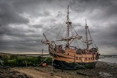 The Queenborough Galleon (James Waghorn) Tags: winter sea england water clouds marina island boat kent nikon ship jetty sails replica mooring ropes galleon isleofsheppey queenborough lr6 d7100 topazclarity sigma1750f28exdcoshsm theladybrenda