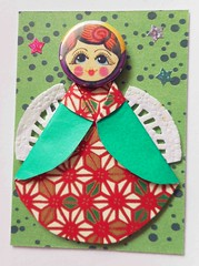 ATC1306 - Colorful Christmas angel (tengds) Tags: red white green atc artisttradingcard angel japanese dots origamipaper papercraft japanesepaper washi ningyo artistcard handmadecard chiyogami christmasangel yuzenwashi washidoll origamidoll tengds metallicpin
