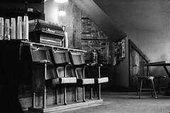Take a Seat (e.m.alder) Tags: ontario canada film coffee analog 35mm vintage reflex cafe antique empty rustic grain waterloo m42 hp5 espresso 135 barista ilford patina ilfotecddx wirgin edixa homedevelopment canoscan9000f deathvalleyslittlebrother edixaxenar50mmf28 edixamatreflexmoddl