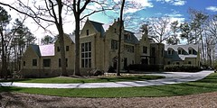 New Mansion in Buckhead (steveartist) Tags: trees homes atlanta brick grass sunshine stone clouds landscaping panoramas crenellations pinestraw mansions 2016 stevefrenkel buckheadneighborhood phototoaster sonydscrx100