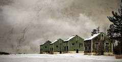 Deserted Tobacco Kilns (Knarr Gallery) Tags: winter snow ontario texture abandoned clouds barn rural nikon farm traditional norfolk shed historic agriculture tobacco deserted d300 norfolkcounty topazlabs tobaccokilns topazadjust nikkor18200mmaf