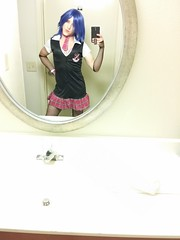 Schoolgirl Punk 30 (ShadowFoxiness) Tags: punk feminine cd crossdressing tgirl transgender schoolgirl bluehair crossdresser crossdress tg