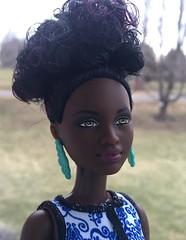 Petite - 25 Blue Brocade (Foxy Belle) Tags: blue black toy doll african barbie american 25 short petite brocade fashionistas 2016