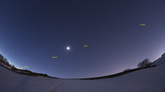 The Five Planet Alignment (Best Viewed Large) (Radical Retinoscopy) Tags: mars snow dawn lowlight venus mercury pennsylvania fisheye pa astrophotography planet lancaster planets astronomy nightsky saturn jupiter lancastercounty alignment canon815mm canont6s fiveplanetalignment