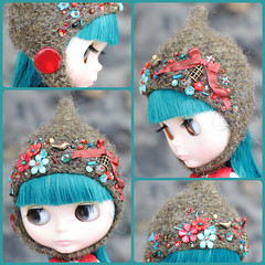 The Folklore Tonttu Helmet: The Cardinal (Euro_Trash) Tags: flowers red brown green bird net wool felted turquoise buttons helmet knit cage website bow com ruby embroidered embellished eurotrash neoblythe folkloreribbon