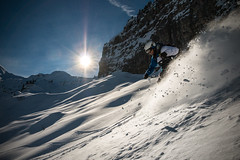 Powder Power (Jamani Caillet) Tags: snow ski schweiz switzerland soleil suisse swiss du powder backcountry neige pow savoie wallis skier skieur valais swissalps portes descente