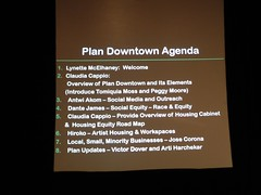 agenda for the evening — hadn't been released earlier (citymaus) Tags: city oakland community downtown arts plan meeting center planning presentation agenda schedule outreach urbanplanning options equity alternatives specific 2016 malonga casquelourd