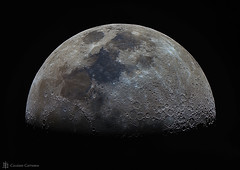 Half Moon (cassianocarromeu) Tags: california ca sky moon colors beautiful night canon solar san space diego system telescope astrophotography half astronomy universe celestron 8in pixinsight edgehd backyardeos