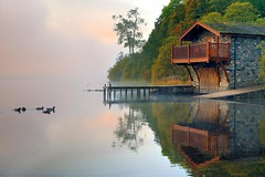 Lakeland Mist (Tony Armstrong-Sly) Tags: autumn mist lake colour landscape lakedistrict ducks cumbria boathouse waterscape ullswater