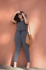 Jumpsuit Weather (GirlWithCurves) Tags: curlyhair jumpsuit plussize plussizeblogger curvyblogger plussizejumpsuit
