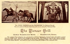 Pioneer Grill Washington PA (Edge and corner wear) Tags: road art vintage restaurant us george washington pc bucket oak mural pennsylvania postcard well route pa pony national tavern express 40 pike amos kendall postmaster oaken