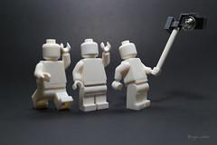 monochrome wefie (nitra -flick) Tags: camera white monochrome toy toys lego minifig minifigs minifigure monokrom minifigures legography