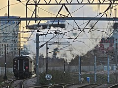 Steam Under Wires (Deepgreen2009) Tags: york light train famous engine railway windy steam wires restoration kingscross iconic exhaust eastcoast finsburypark wembley flyingscotsman electrification uksteam ohle
