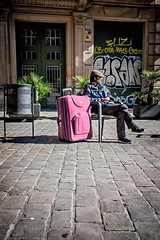 pink (Ctrl Alt) Tags: barcelona street city travel pink light colors lines canon suitcase