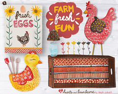 Farm Fresh Fun product concepts by Steph Calvert of Hearts and Laserbeams (Hearts and Laserbeams) Tags: wood chickens clock floral illustration hearts fun blog farm lifestyle books fresh textures cups sunflower eggs lampshade shelves homedecor crates teatowels laserbeams productdesign productconcepts lillarogers utensilholder woodcrates heartsandlaserbeams masonjarlamp lifestyleblog stephcalvert makeartthatsells farmfreshfun