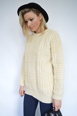 Vintage cream aran sweater (Mytwist) Tags: woman wool girl fashion modern lady female fetish cozy sweater fisherman married craft style cable cables blonde wife jumper casual knitted vouge knitwear cabled webfound mytwist