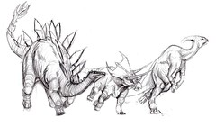 The Magnificent Three (Joaqun greda Ycora) Tags: pencil sketch dinosaurs stampede boceto lpiz dinosaurios estampida