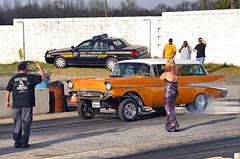 "1957 Chevy Nomad ""Gold Nugget"" Gasser (Thumpr455) Tags: auto woman chevrolet car march nikon action southcarolina historic chevy blonde 1957 nomad gasser d800 goldnugget 2016 gridgirl afnikkor3570mmf28d backupgirl wareshoalsdragway ragingrods"
