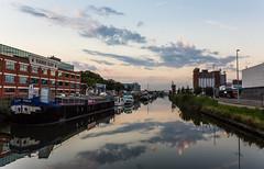 Vaart Leuven-Mechelen (Kimmo J) Tags: sky reflection water leuven clouds evening boat canal still belgium stillwater canonef1740mmf4lusm flanders vaart vlaanderen vaartkom canon6d