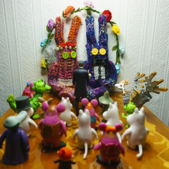 Knitted wedding being perfomed by The Doctor with The Clangers and Moomins as guests (World of Oddy) Tags: wedding handmade rabbits knitted moomins clangers