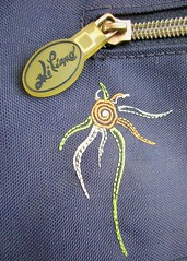 Summer bag embroidery (Eire's Gorgeous Golden Gorse representative) Tags: detail bag decorative fabric stitching hmm zip macromondays canonixus170 2016onephotoeachday