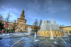 Castello sforzesco Milano (big.mattia) Tags: life city blue autumn italy sun milan tree castle water italia blu milano autunno fontana castello sforzesco lombardia hdr citt