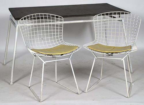 Bertoia side chairs by Knoll & Slate Top Table - $495.00