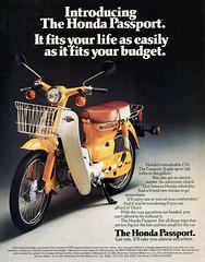 Honda   C70  Passport  ad. (Lawrence Peregrine-Trousers) Tags: 6 yellow honda cub ad super step motorcycle 1981 through passport advertisements brochure volt adverts thru c70 6v ffffffffff stepthrough stepthru