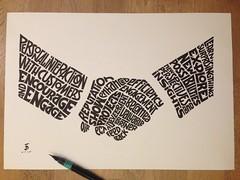 """handshake calligram (Daniele """"Pepsy"""" Tozzi) Tags: hands hand made type shake handshake lettering typedesign calligram calligramma"""