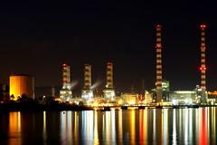 Lights on... (Michael Kalognomos) Tags: longexposure sea night landscape lights seaside energy chimneys fumes lavrio ef24105mmf4l canoneos70d