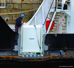 Scotland Greenock ship repair dock car ferry Coruisk new aft portside foot passenger entry door being inspected 15 March 2016 by Anne MacKay (Anne MacKay images of interest & wonder) Tags: car by ferry anne march scotland greenock dock ship picture 15 repair mackay caledonian 2016 macbrayne coruisk xs1