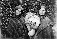Mother, daughter and baby. Victorian Glass Negatives (Parsonago) Tags: old uk family portrait baby glass vintage found scotland grandmother daughter 1800s victorian mother scottish negative tartan scottland 1890s 1880s foundphotouk